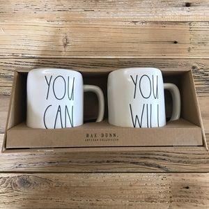 {Rae Dunn} You Can You Will Coffee Tea Mugs NEW